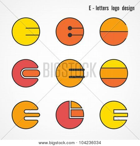 Creative E Letters Icon Abstract Logo Design Vector Template. Corporate Business Card And Education