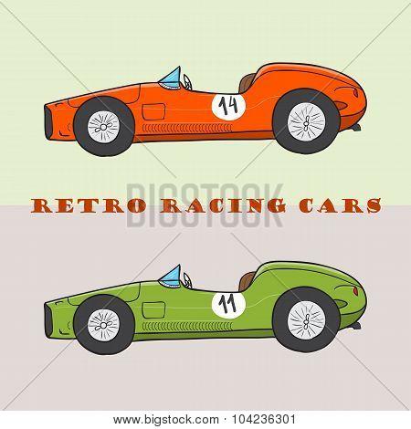 Vintage Cartoon Racing Car. Vector Doodle Illustration