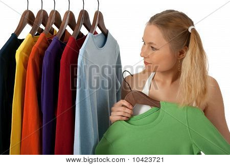 Young Woman In A Clothing Store