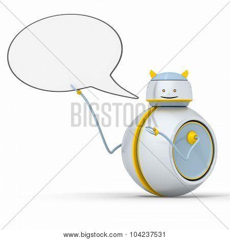 A sweet little robot with a speech bubble