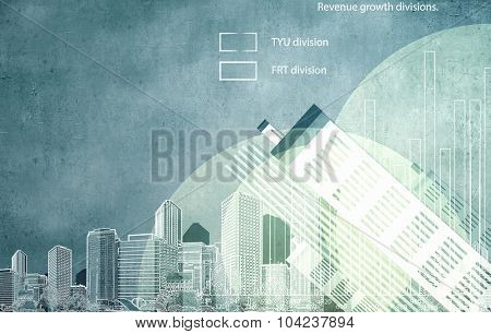 Conceptual image with financial charts and graphs on city background