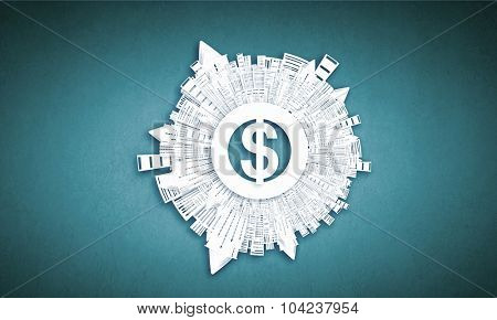 Collage image with money concept on color background