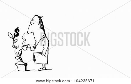 Caricature of funny businessman watering money tree on white background