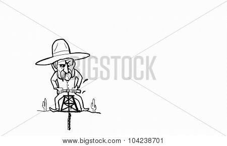 Caricature image of mexican guy drilling soil
