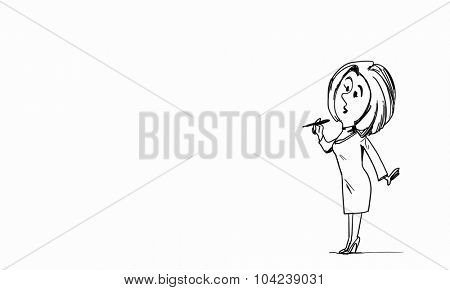 Caricature of woman with pen in hands on white background