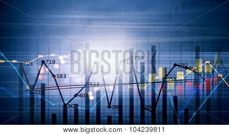 Conceptual image with financial charts and graphs on digital background