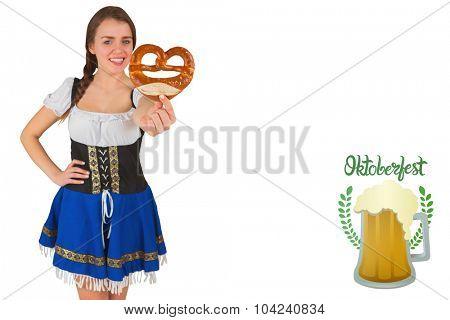 Pretty oktoberfest girl holding pretzel against oktoberfest graphics