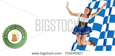 Pretty oktoberfest girl smiling and jumping against oktoberfest graphics