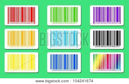 Bright bar codes on green background. Vector image