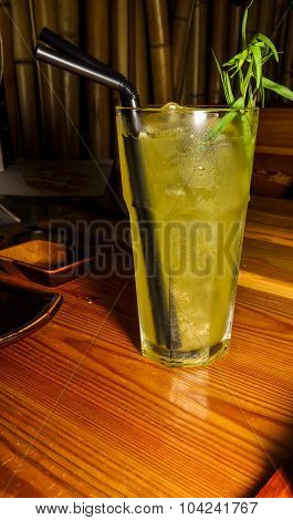 Cold Lemonade In A Glass With A Straw