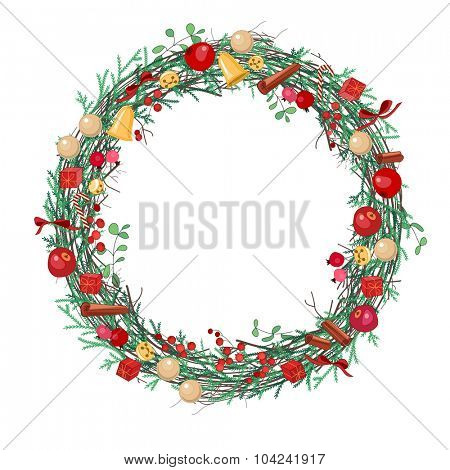 Round Christmas wreath with fir branches, balls and bows on white. Frame for festive design, announcements, postcards, posters.