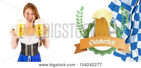 Oktoberfest girl holding jugs of beer against oktoberfest graphics
