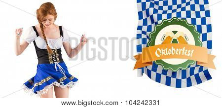 Oktoberfest girl moving and dancing against oktoberfest graphics