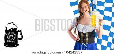 Oktoberfest girl smiling at camera holding beer against oktoberfest graphics
