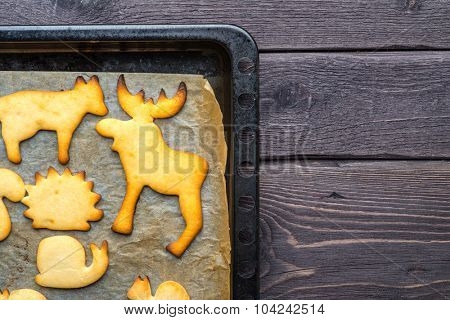 Gingerbread homemade cookies in the shape of an animals