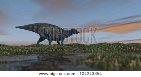 shuangmiaosaurus in grassland