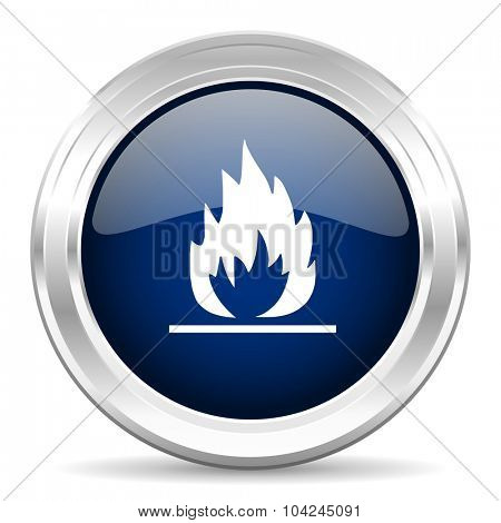 flame cirle glossy dark blue web icon on white background