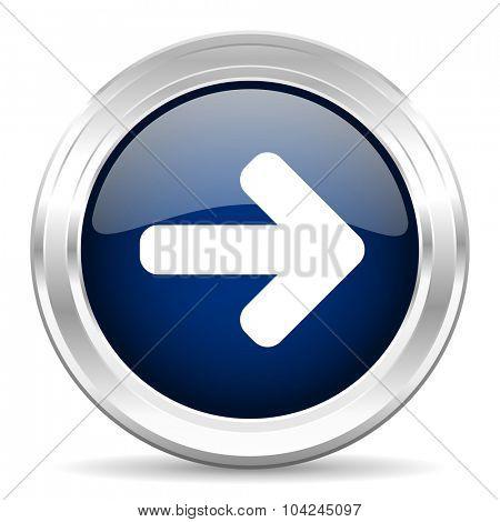right arrow cirle glossy dark blue web icon on white background