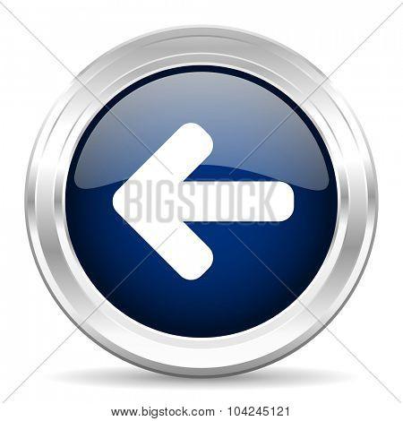 left arrow cirle glossy dark blue web icon on white background