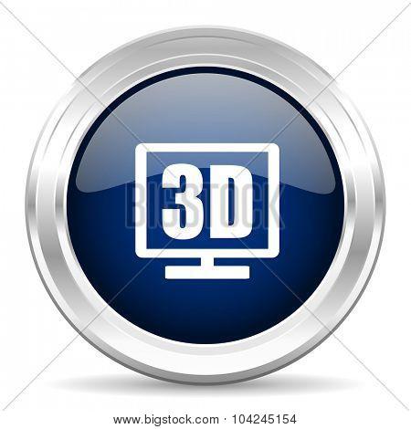 3d display cirle glossy dark blue web icon on white background