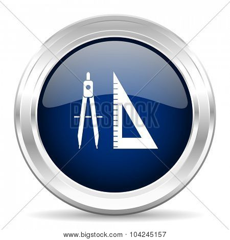 learning cirle glossy dark blue web icon on white background