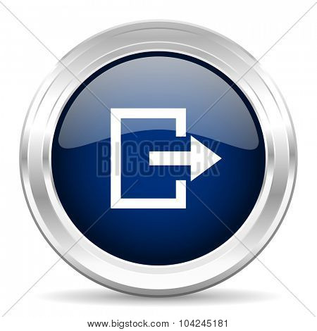 exit cirle glossy dark blue web icon on white background