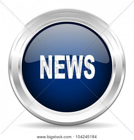 news cirle glossy dark blue web icon on white background