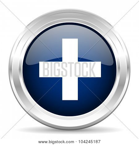 plus cirle glossy dark blue web icon on white background