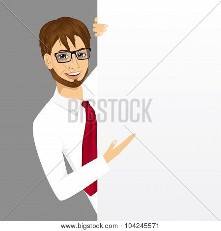 businessman with a blank presentation board