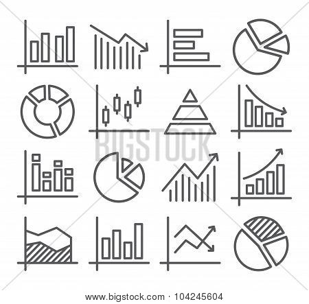 Diagram and Graphs Line Icons