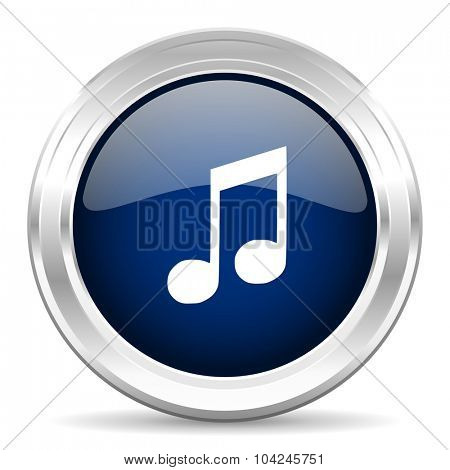 music cirle glossy dark blue web icon on white background