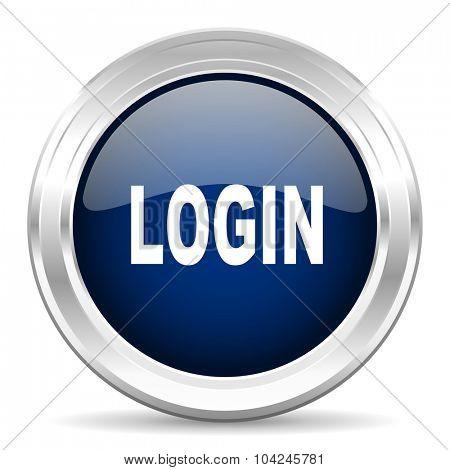 login cirle glossy dark blue web icon on white background