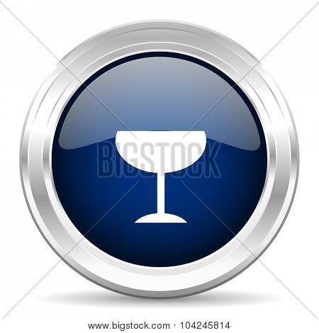alcohol  cirle glossy dark blue web icon on white background