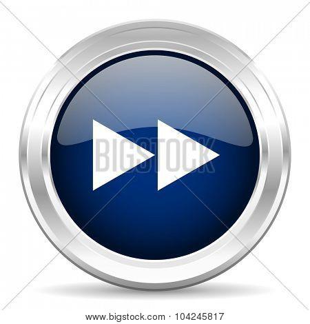 rewind cirle glossy dark blue web icon on white background