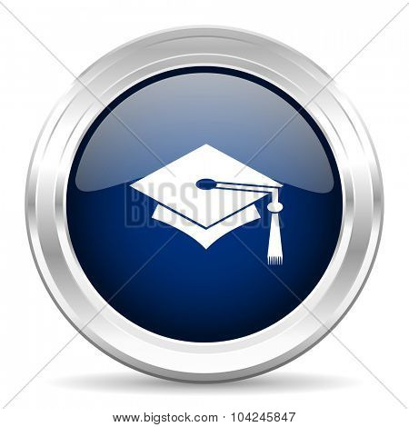 education cirle glossy dark blue web icon on white background