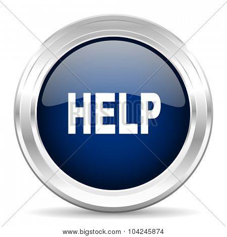 help cirle glossy dark blue web icon on white background