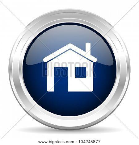 house cirle glossy dark blue web icon on white background