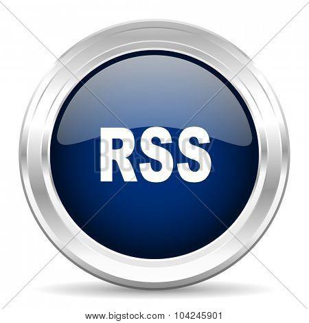 rss cirle glossy dark blue web icon on white background