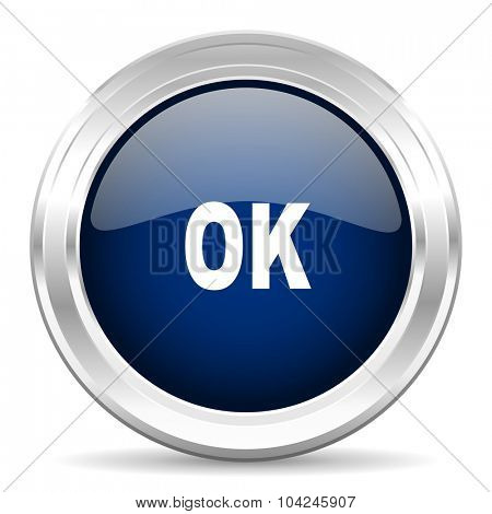 ok cirle glossy dark blue web icon on white background