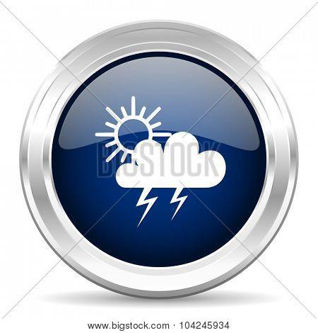 storm cirle glossy dark blue web icon on white background
