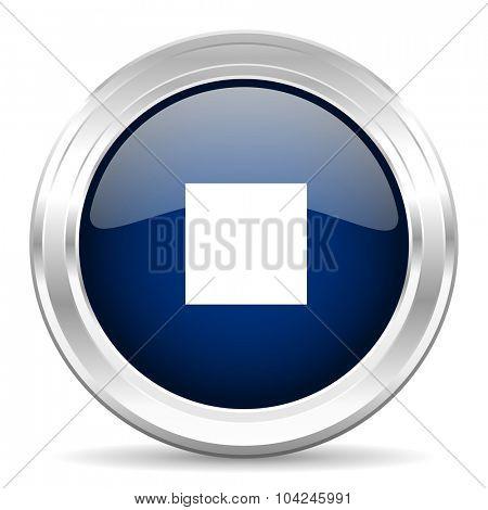 stop cirle glossy dark blue web icon on white background
