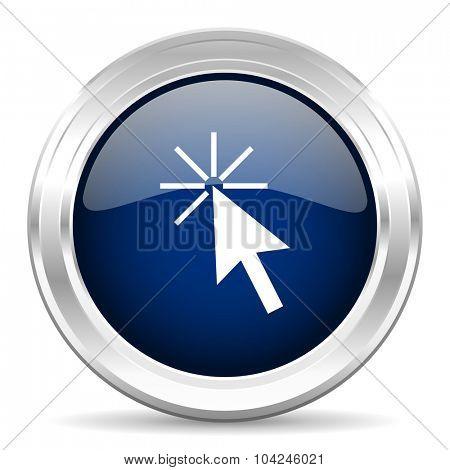 click here cirle glossy dark blue web icon on white background