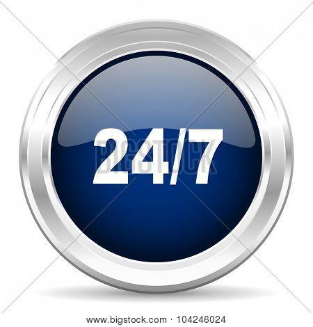 24/7 cirle glossy dark blue web icon on white background