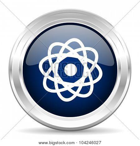 atom cirle glossy dark blue web icon on white background