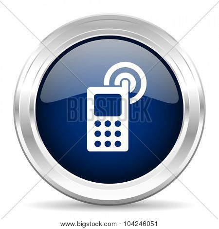 phone cirle glossy dark blue web icon on white background