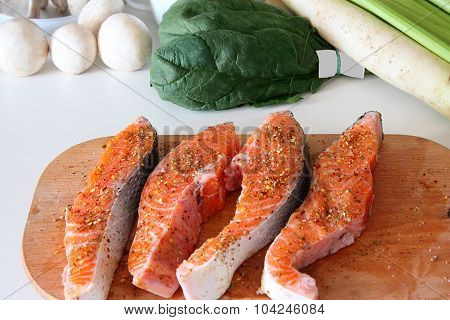 Pieces Of A Salmon.