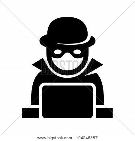 Anonymous Hacker Spy Icon Searching on Laptop. Vector