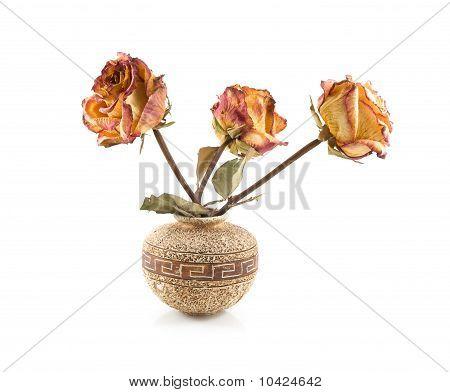 Roses In Ceramic Vase