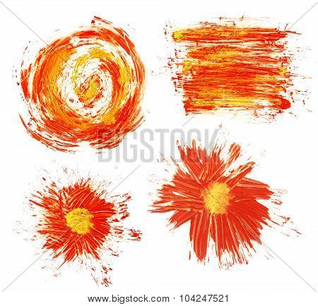 Acrylic Hand Drawn Red Abstract Splash Stains