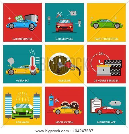 Car flat design icon set